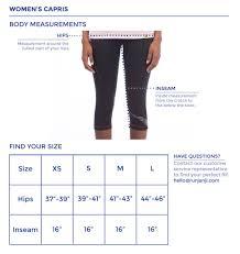 Womens Capris Size Chart Janji
