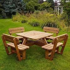 picnic table bench garden set 8 seater