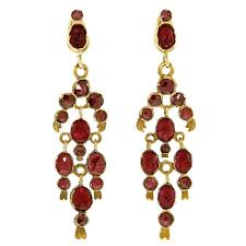 gorgeous 19th century french garnet gold chandelier earrings for