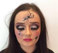 broken doll makeup close up 2