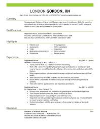 Resume Templates For Registered Nurses Unique Registered Nurse Resume Sample Healthcare Summary Certifications