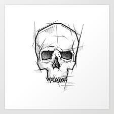 Skull Handmade Drawing Made In Pencil Charcoal And Ink Tattoo Sketch Tattoo Flash Sketch Art Print