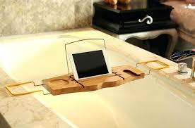 bathtub book holder bathroom bamboo bath wineglass candle soap slot floating