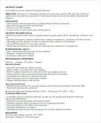 Security Guard Resume Simple Security Guard Resumes 28 Free Word PDF Format Download Free