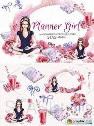Planner Girl Watercolor Clipart Free Download Vector Stock Image