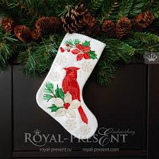 Ith Tension Chart Ith Christmas Stocking With Cardinal Machine Embroidery Design 5 Sizes