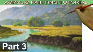 acrylic landscape painting tutorial on bigger canvas fields trees cliffs and river bank part 3