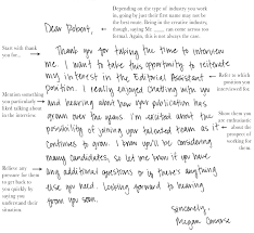 Thank You Note After Interview Handwritten Letter Format Notes