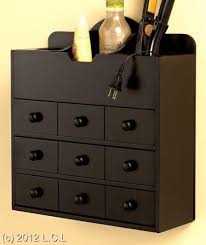 Wooden Countertop or Wall Mount Hair Care Cosmetic Organizer Storage  Cabinet | eBay