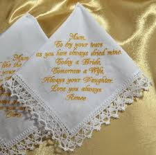wedding handkerchief gift for mother of the bride from the bride personalized hankie wedding gift for mom from daughter custom hanky in law 18 00 usd