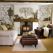 country living room decorating ideas features white large sofa and dark brown leather sofa cushions and dark brown leather coffee table on white rug