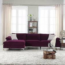 purple velvet fabric sectional sofa l