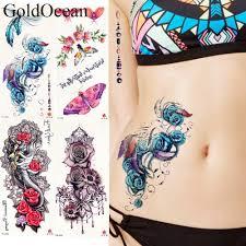 25 Style Blue Rose Flower Tattoo Stickers Women Body Waist Art Temporary Tattoo Girls Sexy Chest Flash Fake Tatto Neck Party Arm