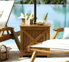 outdoor wicker umbrella side table base teak stand honey pottery barn patio tab outdoor umbrella side table stand