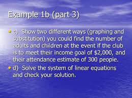 example 1b part 3 c show two diffe ways graphing and substitution