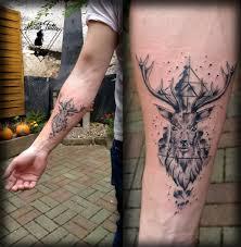 Tetování Jelen Vodovka Geometrie Watercolour Deer Tattoo