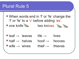 plural form of knife plural rules