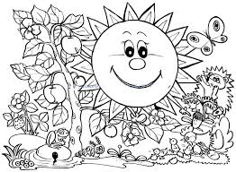 Coloring Pages Flowers And Butterflies Spring For Kids Printable
