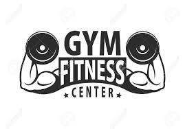 Gym Logo Template Bodybuilding And Fitness Club Monochrome