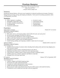 Warehouse Resume Examples Adorable General Labor Resume Samples General Labor Resume Sample Warehouse
