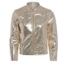 womens las gold metallic shiny er foil zip biker jacket coat 8 10 12 14