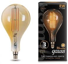 <b>Лампа Gauss</b> LED <b>Vintage</b> Filament <b>A160</b> 8W E27 160*300mm ...