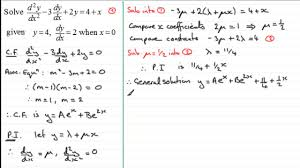 2nd order linear diffeial equations particular solutions examsolutions