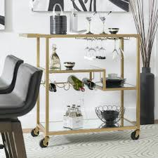3 Home Mini Bar Metropolitan Gold Metal Mobile Cart With Mirror Glass Top  By Inspire Q Bold Design Pictures