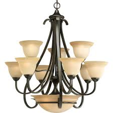 progress lighting torino 9 light forged bronze chandelier with tea stained glass shade