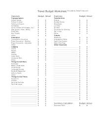 travel budget worksheet sample travel budget template 6 free documents download in