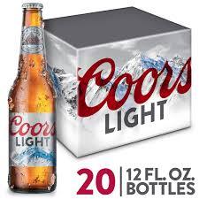 20 Bottles Of Coors Light Coors Light Beer American Light Lager 20 Pack Beer 12 Fl Oz Bottles Walmart Com