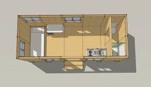 Simple illustrative drawing of an 8'x20' tiny house that meets the 2012 IRC  minimum area requirements