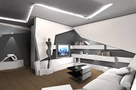 the dynamic style of modern home interiors. Futurism In The Hotel Interior Is A Modern Apartment With Wide Range Of Home Appliances; It`s Rigorous Background And Bright Color Accents; Dynamic Style Interiors