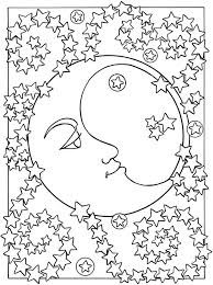 Small Picture Adult coloring page moon sun stars The moon and the stars 1