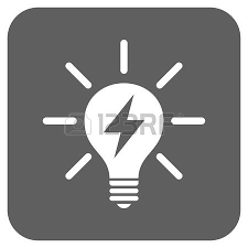 vector square blue icon lighting bulb. Electric Light Bulb Glyph Icon. Image Style Is A Flat Icon Symbol Inside Rounded Vector Square Blue Lighting O