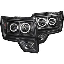 ford f 150 09 14 projector headlights halo led black ccfl