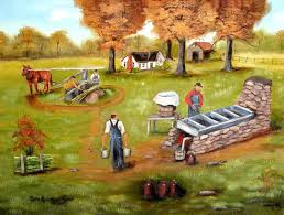 folk art prints making mol oil painting print old man horse sugar cane autumn southern landscape country painting fence arie by jagartist on