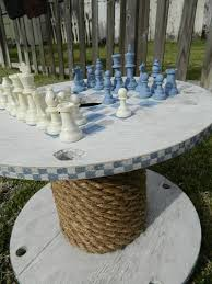 wooden rope spool table chess ideas upcycled decoration