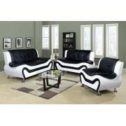 Black and white chairs living room Furniture Sets Piece Faux Leather Contemporary Living Room Sofa Love Seat Chair Set Black Tappobag 3piece Living Room Sets