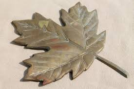 solid brass autumn leaf wall plaque or door hanging tarnished old brass fall decor