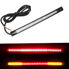 Red And Amber Led Light Bar Us 1 39 44 Off Motorcycle Light Bar Strip Tail Brake Stop Turn Signal License Plate Light Integrated 3528 Smd 48 Led Red Amber Color On