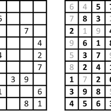 A Sudoku Puzzle Layout On The Left With Its Solution On The Right
