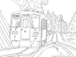 Jr後藤寺線の電車の下絵乗物のぬりえ