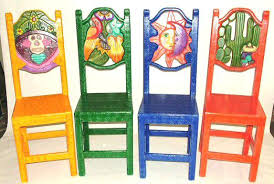 colorful painted furniture. Colorful Mexican Furniture Carved Painted Chairs Tables Restaurant Home
