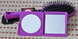 Зеркало карманное Dewal <b>Beauty</b> и щётка для волос, серия Индиго