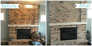 How To Whitewash Brick White Brick Fireplace Before And After