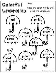 color worksheets for kids. Plain For FREE Color Word Umbrellas Part Of An April Themed Printables Pack Foru2026  Kindergarten Reading On Color Worksheets For Kids Pinterest