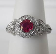 white gold antique style ruby and diamond ring