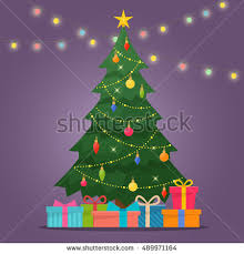 Decorating Christmas Tree With Balls Decorated Christmas Tree Gift Boxes Star Stock Vector 100 85