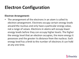 Structure And Properties Of Matter Electron Configuration